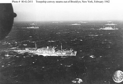 Convoy out of Brooklyn, February 1942, probably bound for Liverpool (photographed from a blimp from NAS Lakehurst)