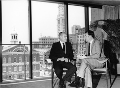 McGovern talking with the Mayor of Boston, Raymond L. Flynn, in the mid-1980s