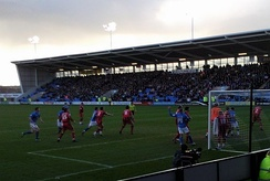 Shrewsbury Town playing Gillingham at the Greenhous Meadow stadium, which is on the outskirts of Shrewsbury.