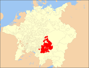 The Electorate of Bavaria highlighted on a map of the Holy Roman Empire in 1648