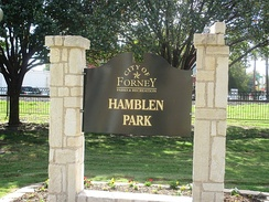 Hamblen Park is located behind City Hall and near the Missouri Pacific Railroad car in Forney.