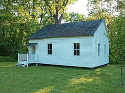 Ichabod Crane Schoolhouse. Owned by Columbia County Historical Society, New York is open to the public and operates as a museum.