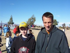 Tony Hawk at the opening of the Needles Skate Park on January 3, 2004.