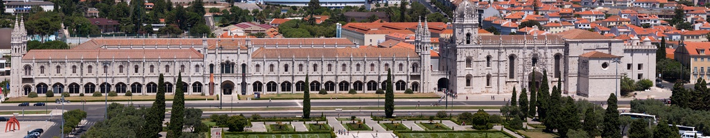 View of Jerónimos Monastery and Praça do Império (Empire Square) from the top of the Padrão dos Descobrimentos in Belém.