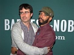 Former correspondents John Oliver and Wyatt Cenac at the launch of Earth (The Book): A Visitor's Guide to the Human Race