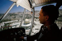 King Hussein of Jordan flying over the Temple Mount in East Jerusalem when it was under Jordanian control, 1965