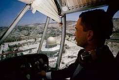 King Hussein flying over the Temple Mount while it was under Jordanian control, 1965