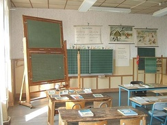 Classroom furniture from 1900 (left) to 1985 (right)
