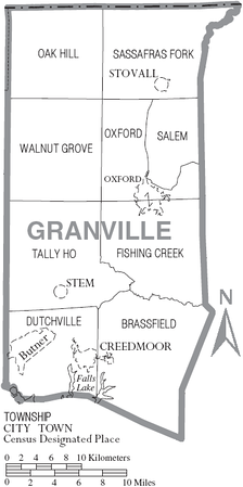 Map of Granville County, North Carolina With Municipal and Township Labels