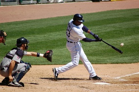 Marcus Thames of the Detroit Tigers batting in 2007