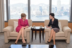 Sturgeon on a trip to Hong Kong for talks with Chief Executive of Hong Kong Carrie Lam.