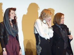 Melissa Auf der Maur, Courtney Love, and Patty Schemel at a screening of Hit So Hard (2012) at the Museum of Modern Art, New York City