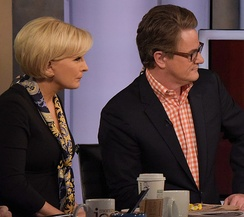 Scarborough on Morning Joe with co-host (and now spouse) Mika Brzezinski