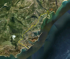Satellite view of Monaco, with the Monégasque-French border shown in yellow