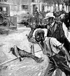 "Hugh W. Ditzler illustration for Alfred Waddell's ""The Story of the Wilmington, N.C. Race Riots"". Collier's Weekly, November 26, 1898."