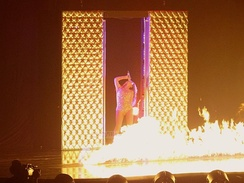 "Beyoncé performing ""Naughty Girl"" with onstage pyrotechnics."