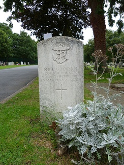 The grave of a sailor who died in the Argentine attack on Sheffield Lavender Hill Cemetery, Enfield.