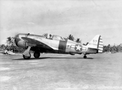 "341st FS P-47D-23-RA Thunderbolt ""Miss Lorraine"" (s/n 42-27886) from the 341st Fighter Squadron, Tanauan Airfield, Leyte, Philippines, January 1945"