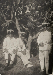 Native Micronesian constables of Truk Island, circa 1930. Truk became a possession of the Empire of Japan under a mandate from the League of Nations following Germany's defeat in World War I.