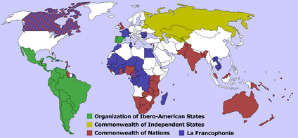Four international organizations whose membership largely follows the pattern of previous colonial empires.