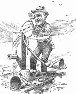 In a 1913 cartoon, Wilson primes the economic pump with tariff, currency and antitrust laws