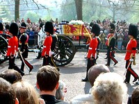 The Queen Mother's funeral carriage. The coffin is draped with her personal standard, shown below.