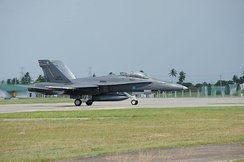 A Royal Malaysian Airforce Boeing F/A-18 Hornet during Cope Taufan 2012.
