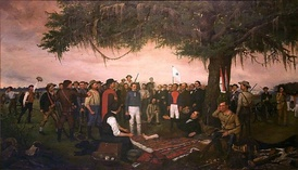 Surrender of Santa Anna. Painting by William Henry Huddle, 1886.
