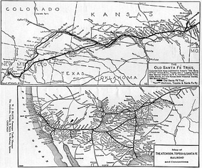 "A comparison map prepared by the Santa Fe Railroad in 1921, showing the ""Old Santa Fé Trail"" (top) and the AT&SF and its connections (bottom)"