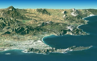 Landsat Image over SRTM Elevation by NASA, showing the Cape Peninsula and Cape of Good Hope, South Africa in the foreground.[1]