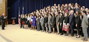Secretary of State Mike Pompeo swears in the 195th Foreign Service Generalist Class in October 2018