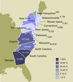Enslavement in the 13 colonies, 1770. Numbers show actual and estimated enslaved population by colony. Colors show enslaved population as a percentage of each colony's total population. Boundaries shown are based on 1860 state boundaries, not those of 1770 colonies.[3]