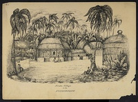 Village in a clearing of Sundarbans. Drawing by Frederic Peter Layard after an original sketch of 1839