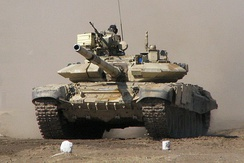 Indian T-90 Bhisma with appliqué reactive armor and standard 125 mm (4.9 in) main gun