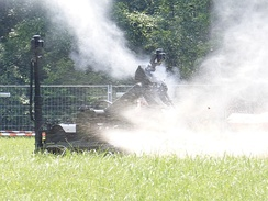 """tEODor"" robot of the German Army destroying a fake IED"