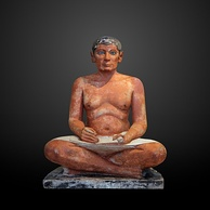 The Seated Scribe from Saqqara, Egypt, limestone and alabaster, circa 2600 and 2350 BC[86]