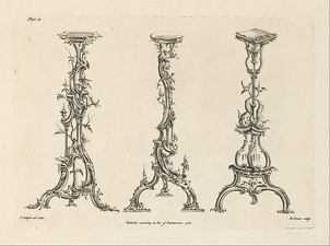 "Design for candlesticks in the ""Chinese Taste"" by Thomas Johnson (1756)"