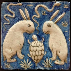 Tile with two rabbits, two snakes, and a tortoise, illustration for Zakariya al-Qazwini's book, Iran, 19th century