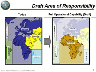 February 2007 Draft Map of U.S. AFRICOM showing its creation from parts of USEUCOM, USCENTCOM and USINDOPACOM.