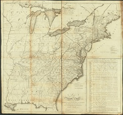 Abraham Bradley's 1796 map of the United States includes many forts and settlements within the Northwest Territory.