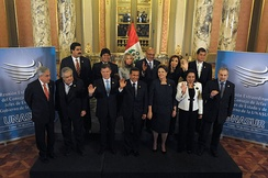 Heads of State at the 5th UNASUR Meeting in Lima, in Peru.