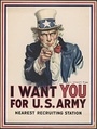 J. M. Flagg's Uncle Sam recruited soldiers for World War I, and was revived in later wars.  Based on the Kitchener poster