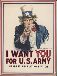 J. M. Flagg's 1917 poster was based on the original British Lord Kitchener poster of three years earlier. It was used to recruit soldiers for both World War I and World War II. Flagg used a modified version of his own face for Uncle Sam,[1] and veteran Walter Botts provided the pose.[2]