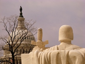 The United States Capitol dome as seen from the Supreme Court Building