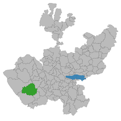 Location of Villa Purificación, Jalisco (in green), where the helicopter attack took place