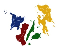 A map of the Visayas color-coded according to its constituent regions during inclusion of the then Negros Island Region (2015-2017).   Western Visayas   Negros Island Region   Central Visayas   Eastern Visayas