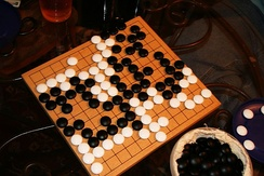 A finished beginner's game on a 13×13 board. Go software can reach stronger levels on a smaller board size.