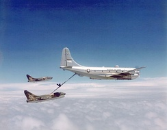 Two USAF A-7 Corsair IIs refueling from a KC-97.