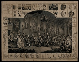A comical 18th-century country dance - engraving by Hogarth