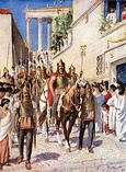 Ending invasions on Roman Empire between AD 100–500. Visigoths entering Athens. The Sack of Rome by the Barbarians in 410 by Joseph-Noël Sylvestre.